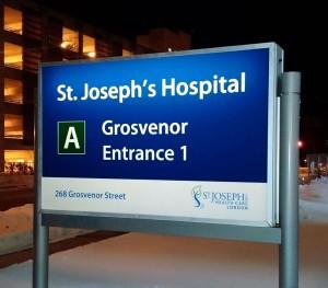 St. Joseph's Hospital Backlit Entrance Sign