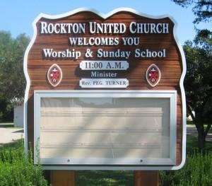 Rockton United Church Sandblasted & Routed Sign