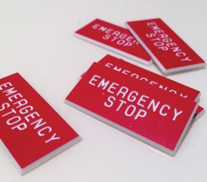 Engraved Acrylic Emergency Stop Labels